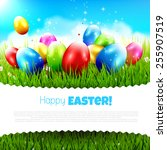 easter greeting card with... | Shutterstock .eps vector #255907519