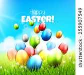 easter greeting card with... | Shutterstock .eps vector #255907549