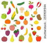 big collection of vegetables... | Shutterstock .eps vector #255909544