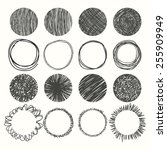set of hand drawn circles.... | Shutterstock .eps vector #255909949