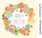 cute happy easter greeting card ... | Shutterstock .eps vector #255911179