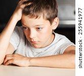 Sad Boy At Home. Unhappy Abuse...