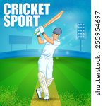 player playing game of cricket... | Shutterstock .eps vector #255954697