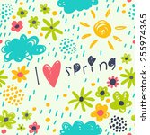 spring pattern with sun ... | Shutterstock .eps vector #255974365