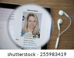 Small photo of CHIANGMAI, THAILAND - February 26, 2015: Photo of Wikipedia article page about Marissa Mayer on a ipad monitor screen through a magnifying glass.