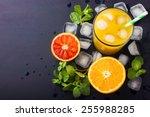 fresh orange juice   mint and... | Shutterstock . vector #255988285