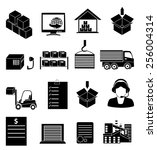 warehouse logistics icons set | Shutterstock .eps vector #256004314