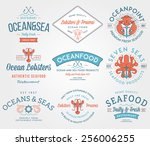 colored seafood labels and... | Shutterstock .eps vector #256006255