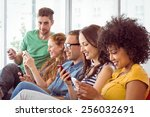 fashion students looking at... | Shutterstock . vector #256032691