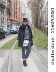 milan  italy   february 25 ... | Shutterstock . vector #256042081
