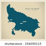 modern map   uttar pradesh in | Shutterstock .eps vector #256050115