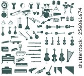 different music instruments   Shutterstock .eps vector #256061674