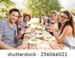 happy friends in the park...   Shutterstock . vector #256066021