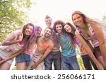 happy friends covered in powder ... | Shutterstock . vector #256066171