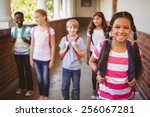 portrait of smiling little... | Shutterstock . vector #256067281