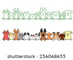 dogs and cats in a row with... | Shutterstock .eps vector #256068655