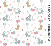 seamless easter pattern with... | Shutterstock .eps vector #256073581
