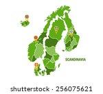 scandinavia map with flags | Shutterstock .eps vector #256075621