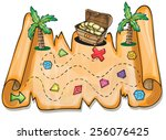 game for kids   pirate treasure ... | Shutterstock .eps vector #256076425
