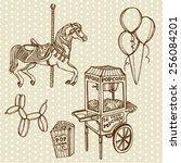 hand drawn retro luna park set. ... | Shutterstock .eps vector #256084201