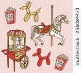 hand drawn retro luna park set. ... | Shutterstock .eps vector #256084471