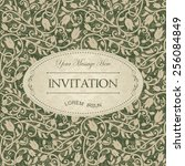 vintage card with damask... | Shutterstock .eps vector #256084849
