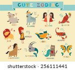 cute zodiac signs icon. hand... | Shutterstock .eps vector #256111441