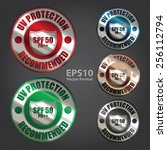 vector   silver metallic spf 50 ... | Shutterstock .eps vector #256112794