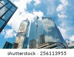clouds reflected in windows of... | Shutterstock . vector #256113955
