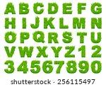grass alphabet depicting... | Shutterstock .eps vector #256115497