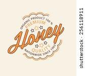 vector set of honey and bees... | Shutterstock .eps vector #256118911
