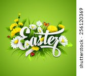 title easter with spring... | Shutterstock .eps vector #256120369