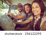 hipster friends on road trip on ... | Shutterstock . vector #256122295