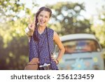 pretty hipster smiling at... | Shutterstock . vector #256123459
