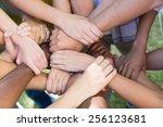 friends putting their hands... | Shutterstock . vector #256123681