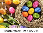Easter Nest With Many Colored...