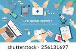 medical team desktop with...   Shutterstock .eps vector #256131697
