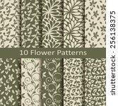 set of ten flower patterns | Shutterstock .eps vector #256138375