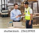 warehouse worker talking with... | Shutterstock . vector #256139905