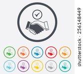 tick handshake sign icon....   Shutterstock .eps vector #256148449