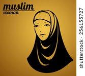 beautiful face of arabic muslim ... | Shutterstock .eps vector #256155727