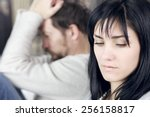 unhappy couple after fight not...   Shutterstock . vector #256158817