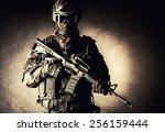 spec ops police officer swat in ... | Shutterstock . vector #256159444