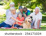 happy family petting their dog... | Shutterstock . vector #256171024