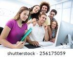 portrait of smiling students in ... | Shutterstock . vector #256175059