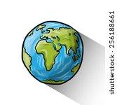 doodle globe  vector... | Shutterstock .eps vector #256188661