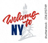 welcome to ny vintage hand... | Shutterstock .eps vector #256193749
