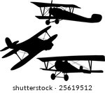 Three Biplane Vector Silhouette