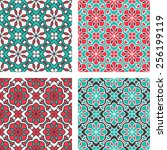 set of seamless pattern with... | Shutterstock .eps vector #256199119