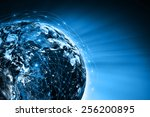 planet earth with sun rising .... | Shutterstock . vector #256200895
